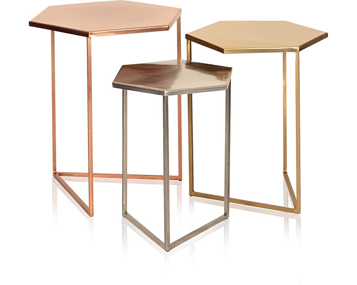 Set Of Three Hexagon Metallic Nesting Tables Oliver Bonas