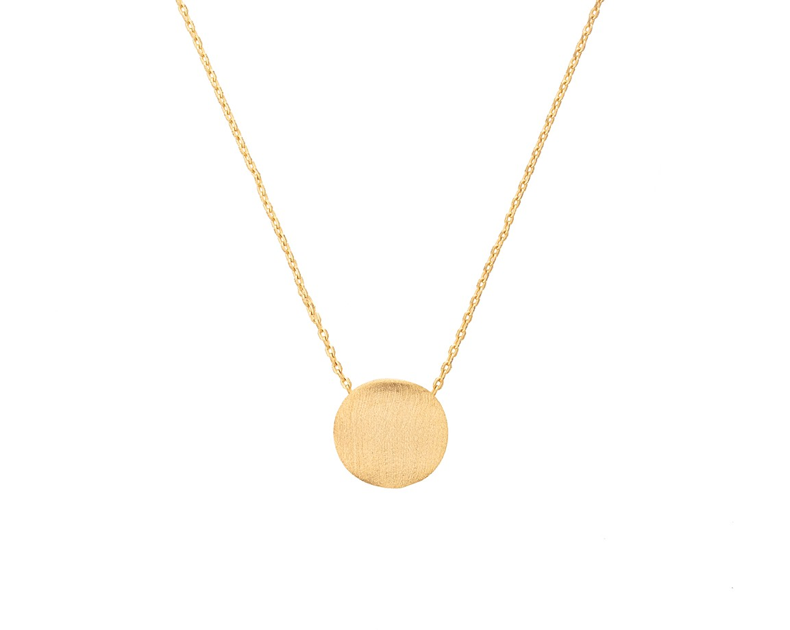 Gold Flat Etched Disc Necklace