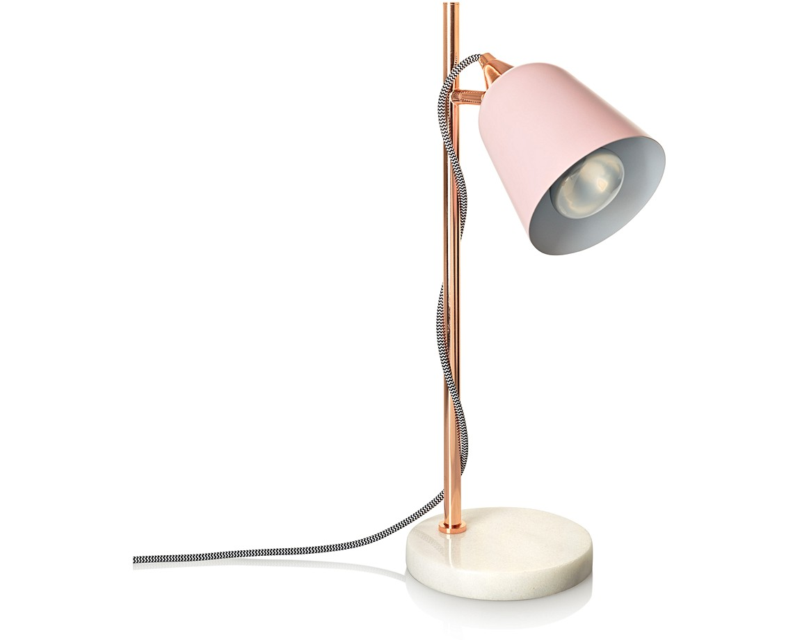 Pink Table Lamp With Marble Base