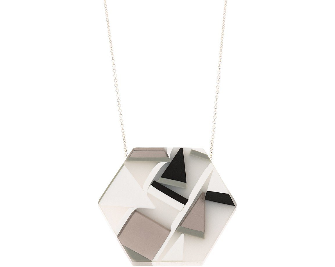 Multi trapped shapes pendant necklace oliver bonas trapped shapes pendant necklace mozeypictures Gallery