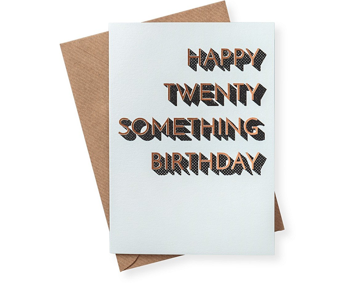 Happy twenty something birthday card gifts for her oliver bonas happy twenty something birthday card bookmarktalkfo Images