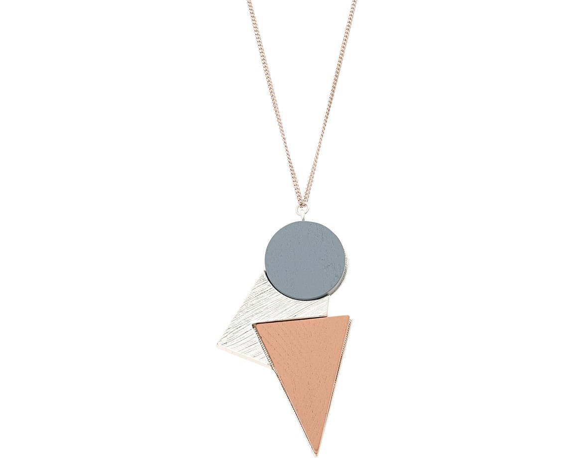 Silver ellice metal inlay geo shape necklace oliver bonas ellice metal inlay geo shape necklace aloadofball Image collections