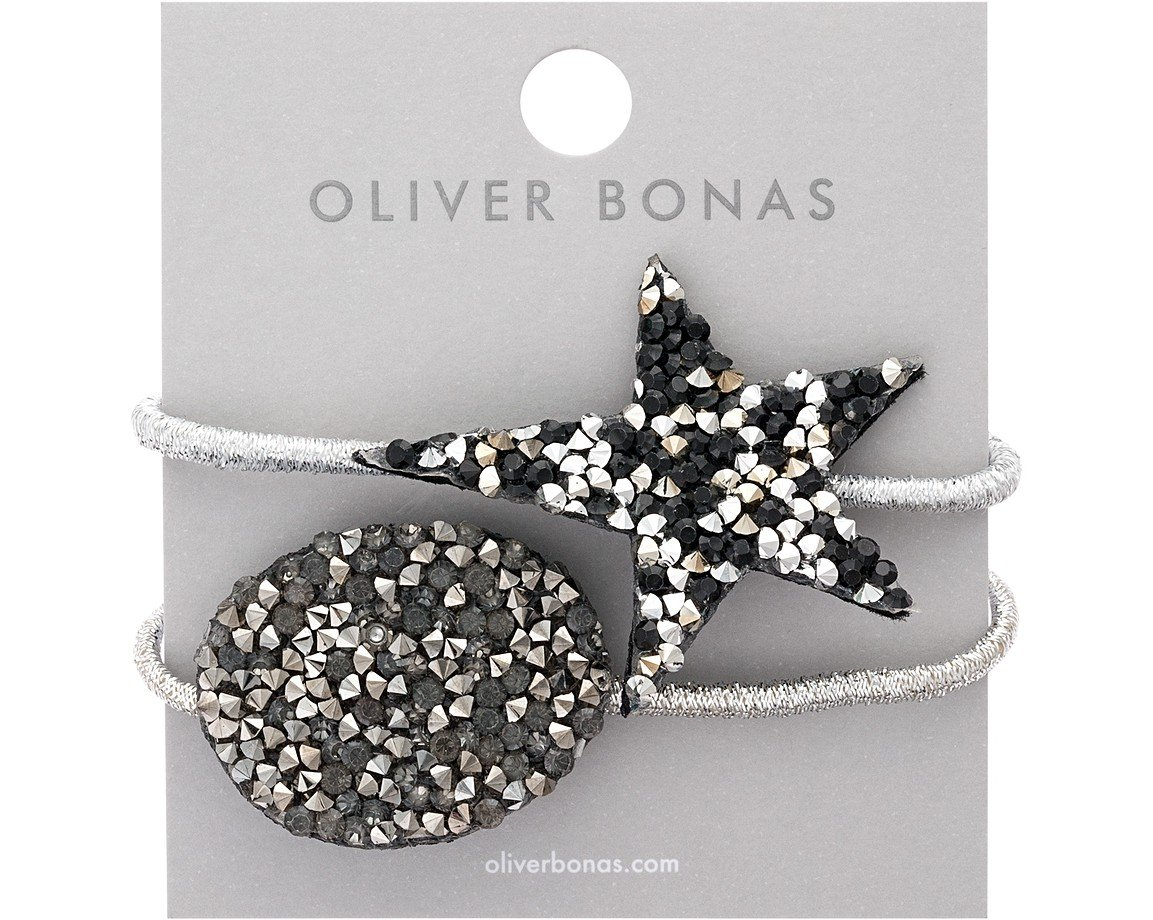 Silver Set of Two Shimmer Star & Oval Hair Elastics | Oliver Bonas