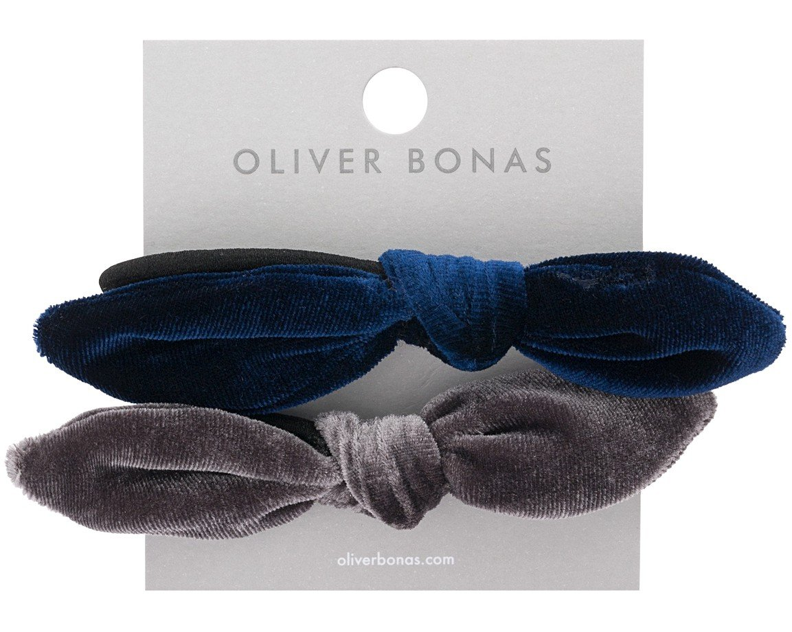Multi Set of Two Velvet Bow Hair Elastics | Oliver Bonas