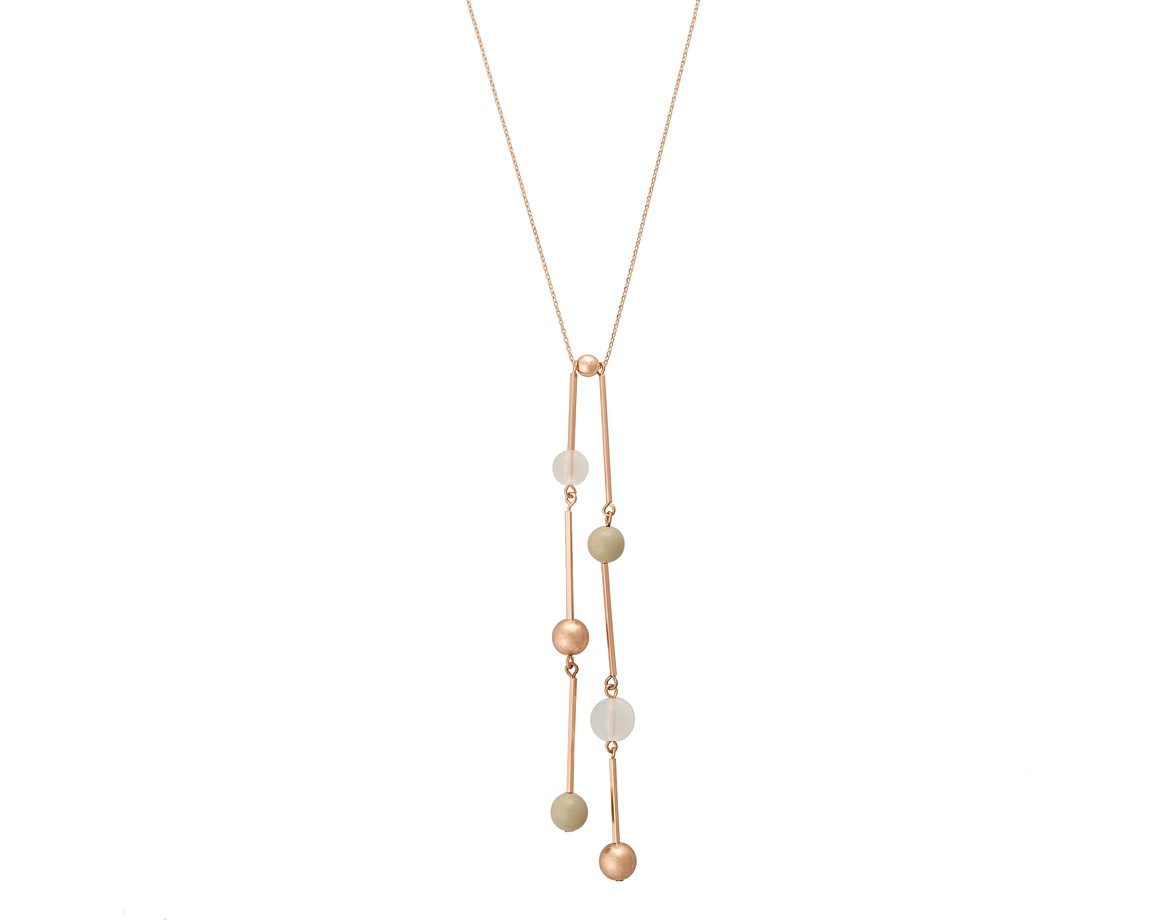 Multi ivor double bead rose gold pendant necklace oliver bonas ivor double bead rose gold pendant necklace aloadofball Choice Image