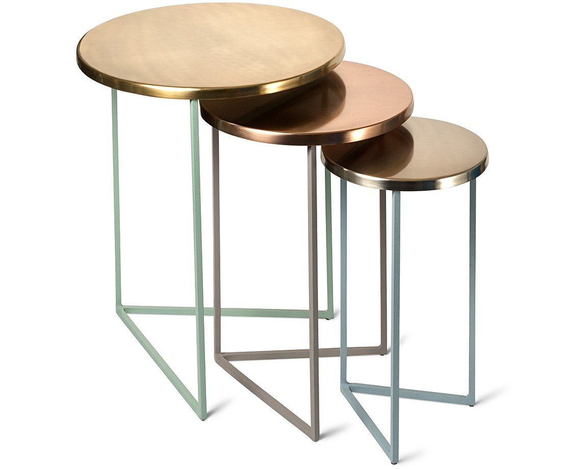 nesting tables. Metallic Round Nesting Tables Set Of Three
