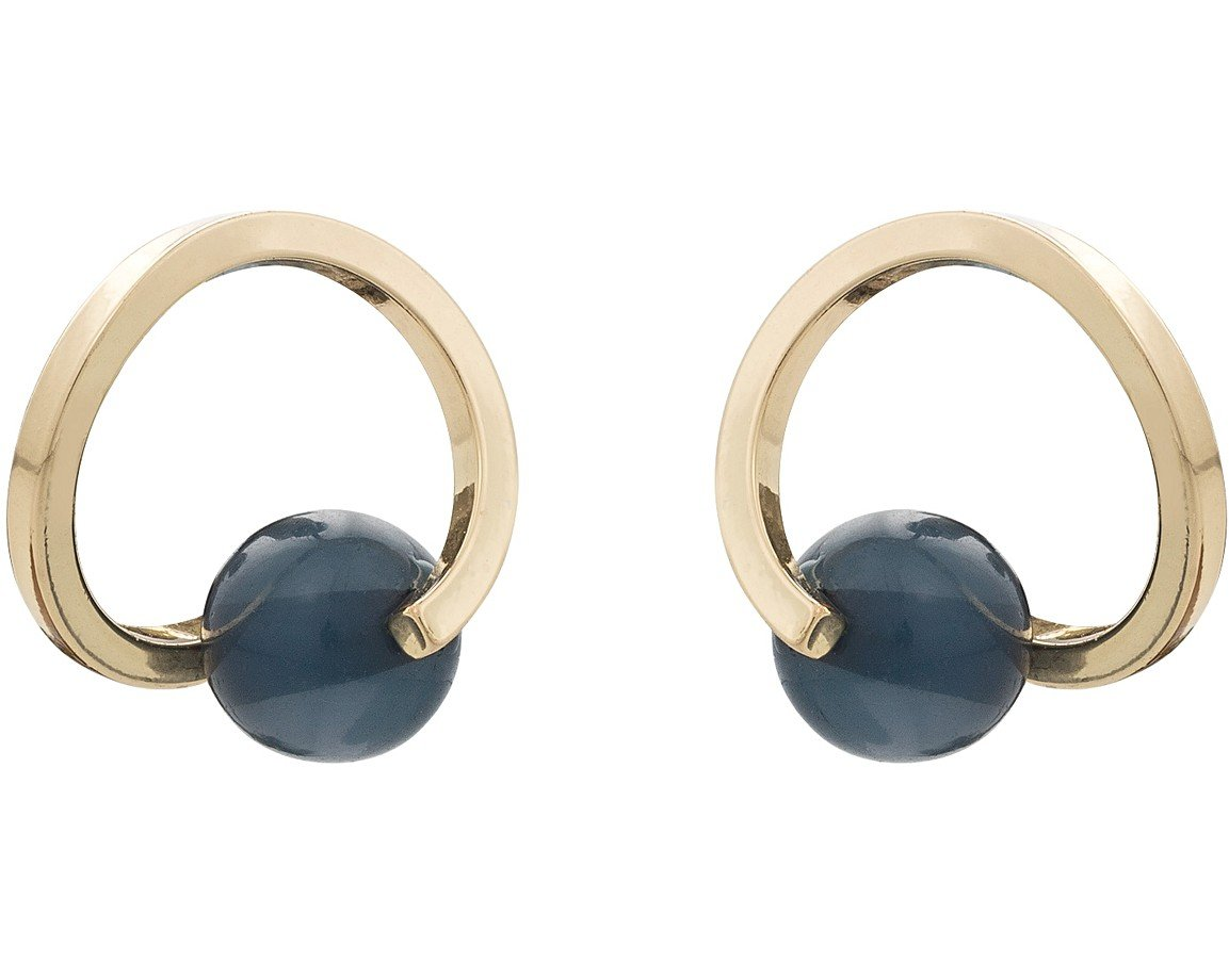 black circle rose boutique happiness stud en gold earrings