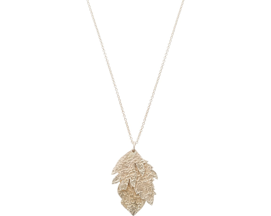 Anise flower leaf gold plated pendant necklace oliver bonas anise flower leaf gold plated pendant necklace mozeypictures Images