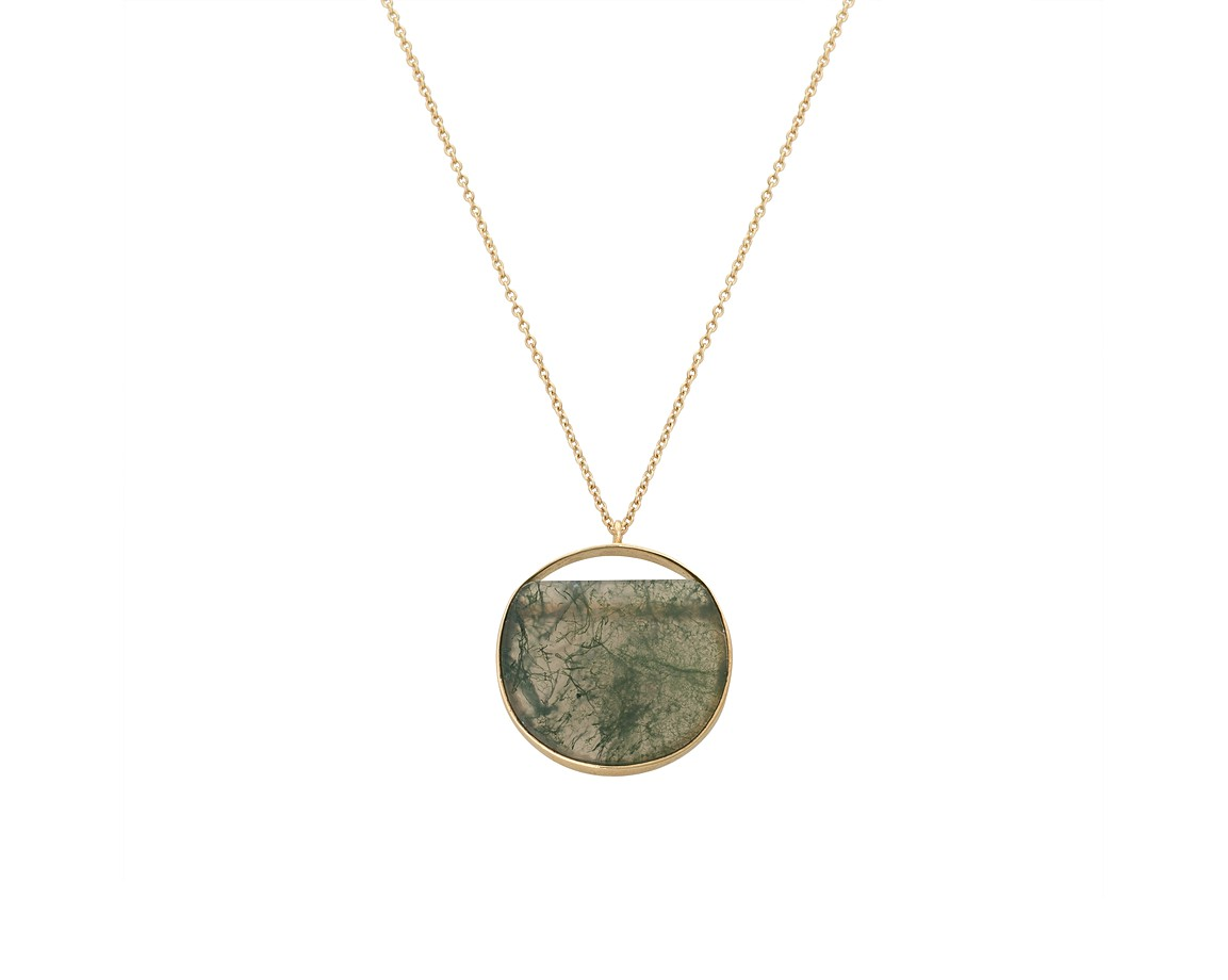 Green irida flat cut stone gold plated pendant necklace oliver bonas irida flat cut stone gold plated pendant necklace mozeypictures Images