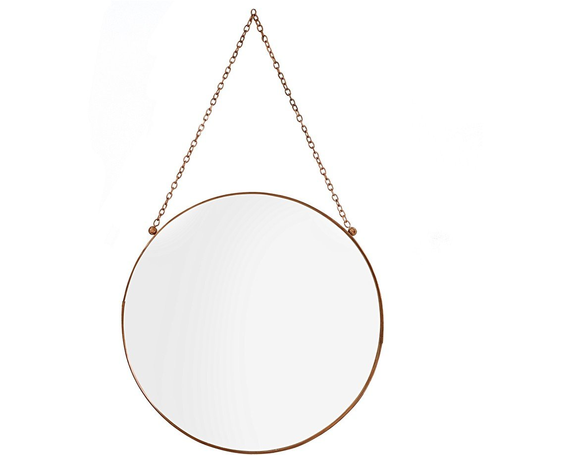 Large round copper hanging mirror oliver bonas for Big circle mirror
