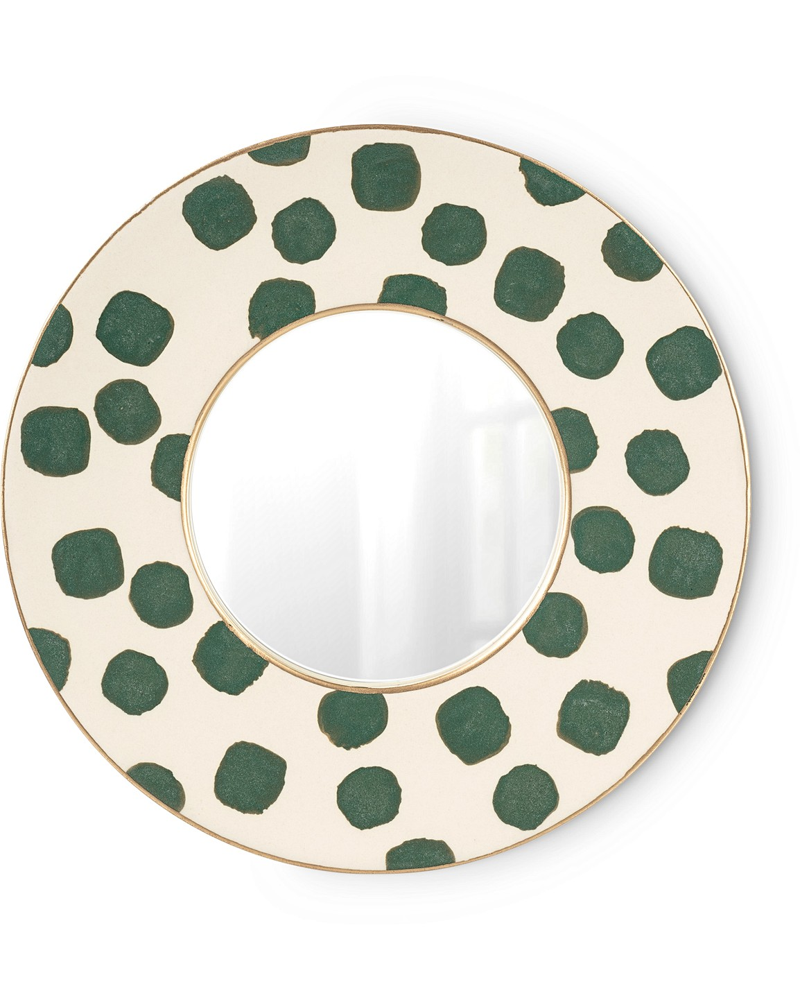 Green Spot Ceramic Round Wall Mirror Um