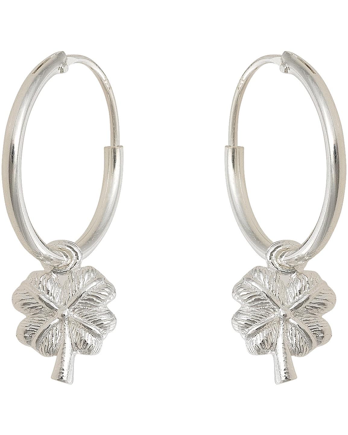 af602c1af Four Leaf Clover Silver Hoop Earrings