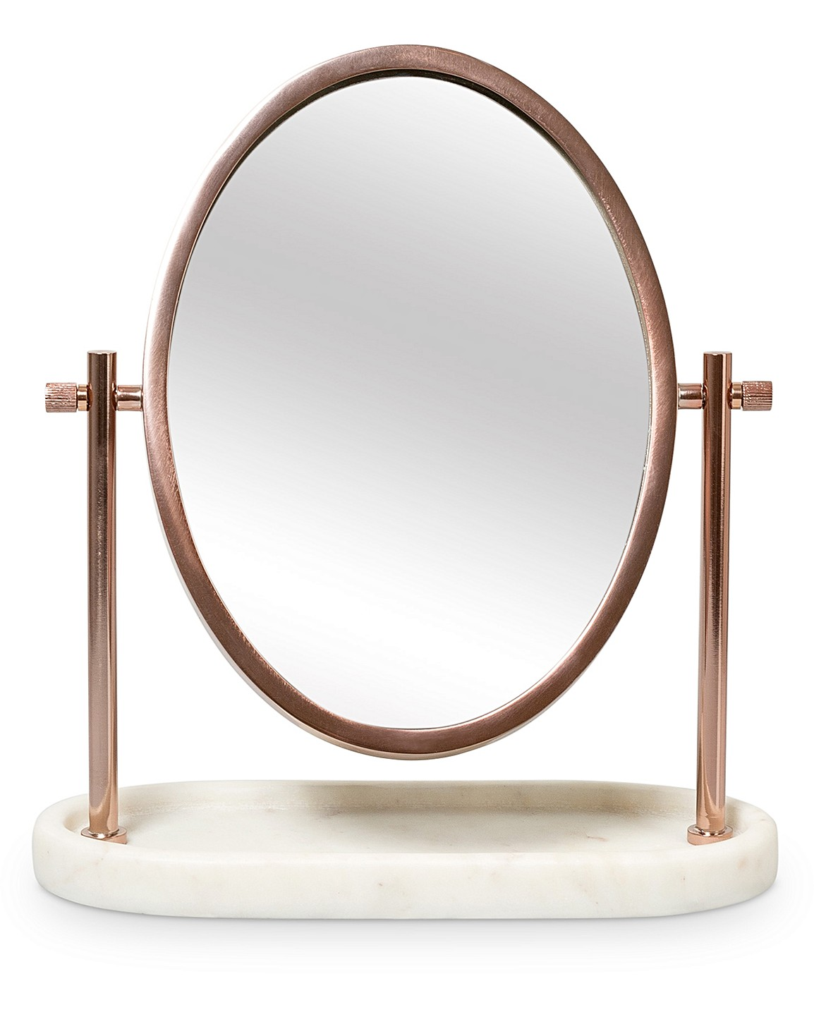 Oval Rose Gold Marble Dressing Table Mirror