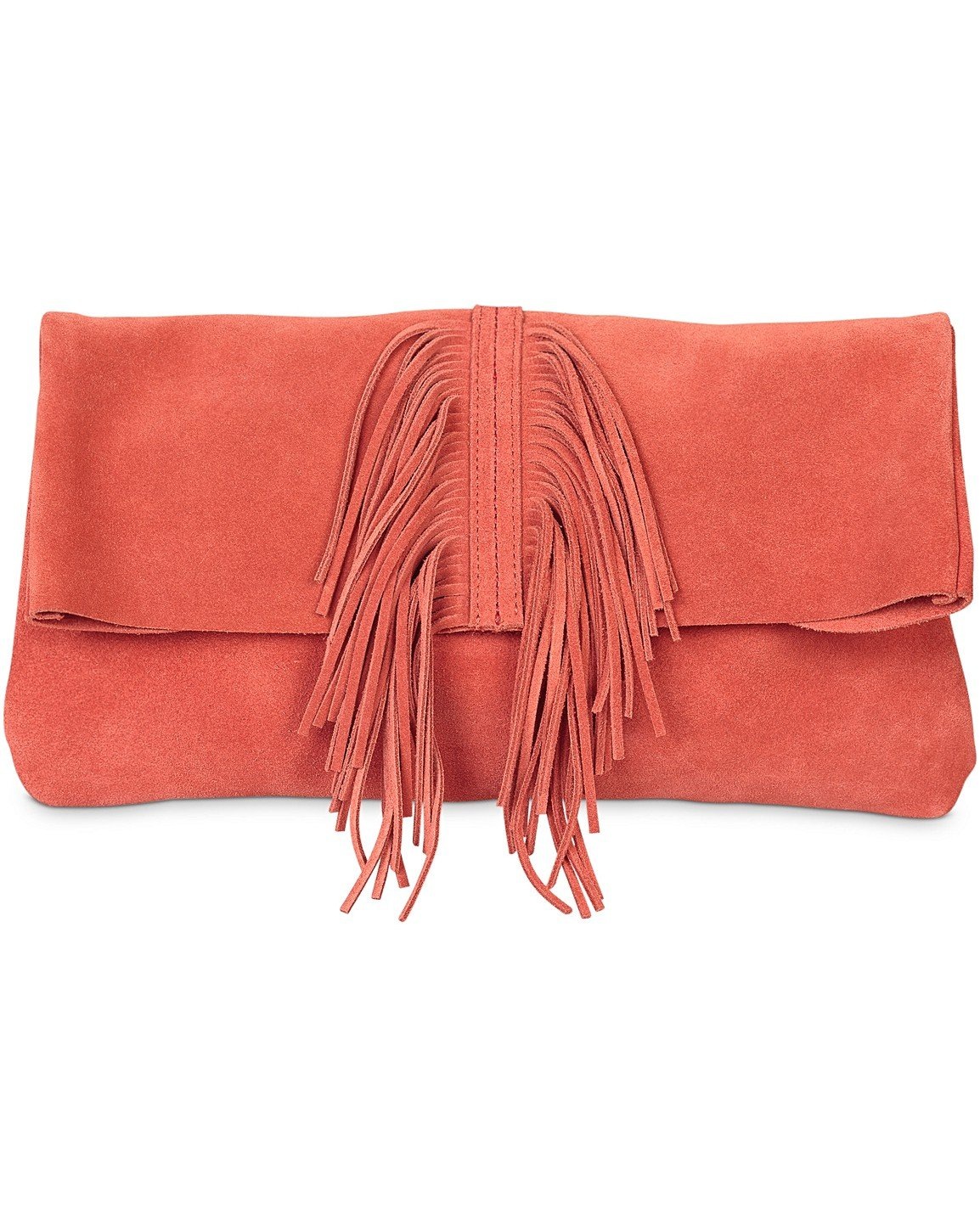 8aa25cd0a0a49 Orange Tassel Front Suede Clutch Bag