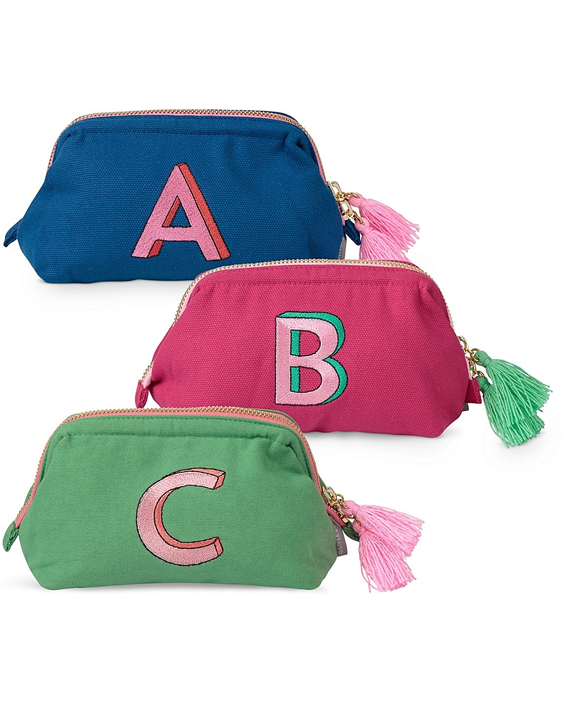 eea11eac0d3b Alphabet Embroidered Makeup Bag