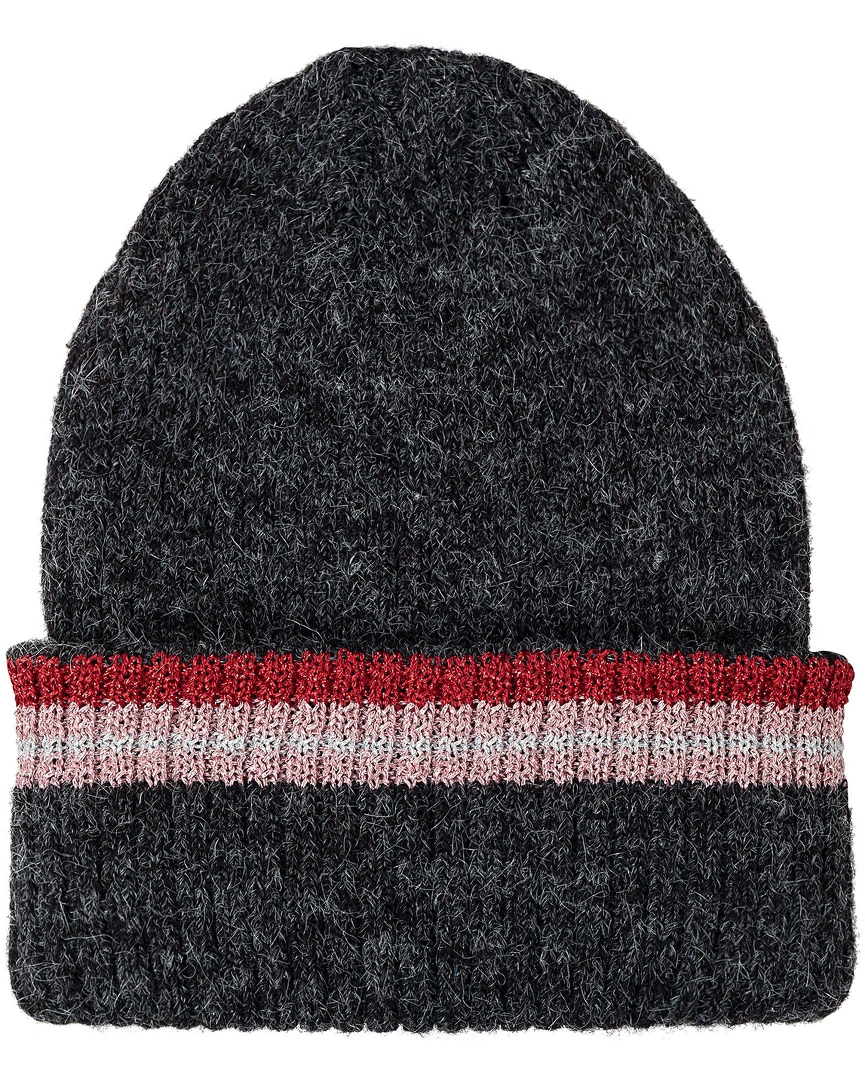 80597decaeb74 Striped Rib Turn Up Charcoal Beanie Hat