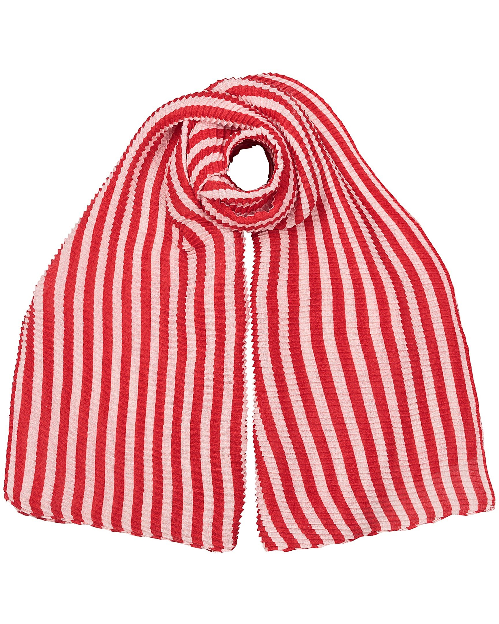 c1809c8a10e Pleated Stripe Red   Pink Scarf