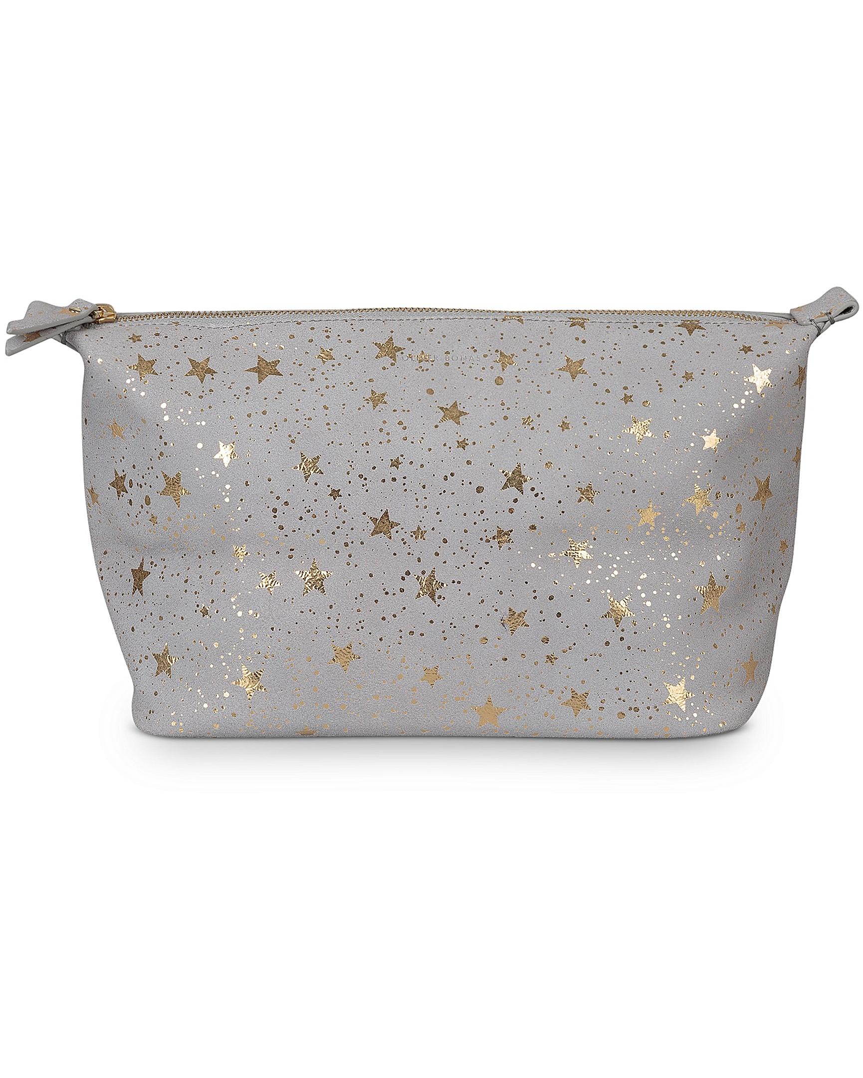 0f99b686c7 Zoya Star Print Grey Leather Wash Bag