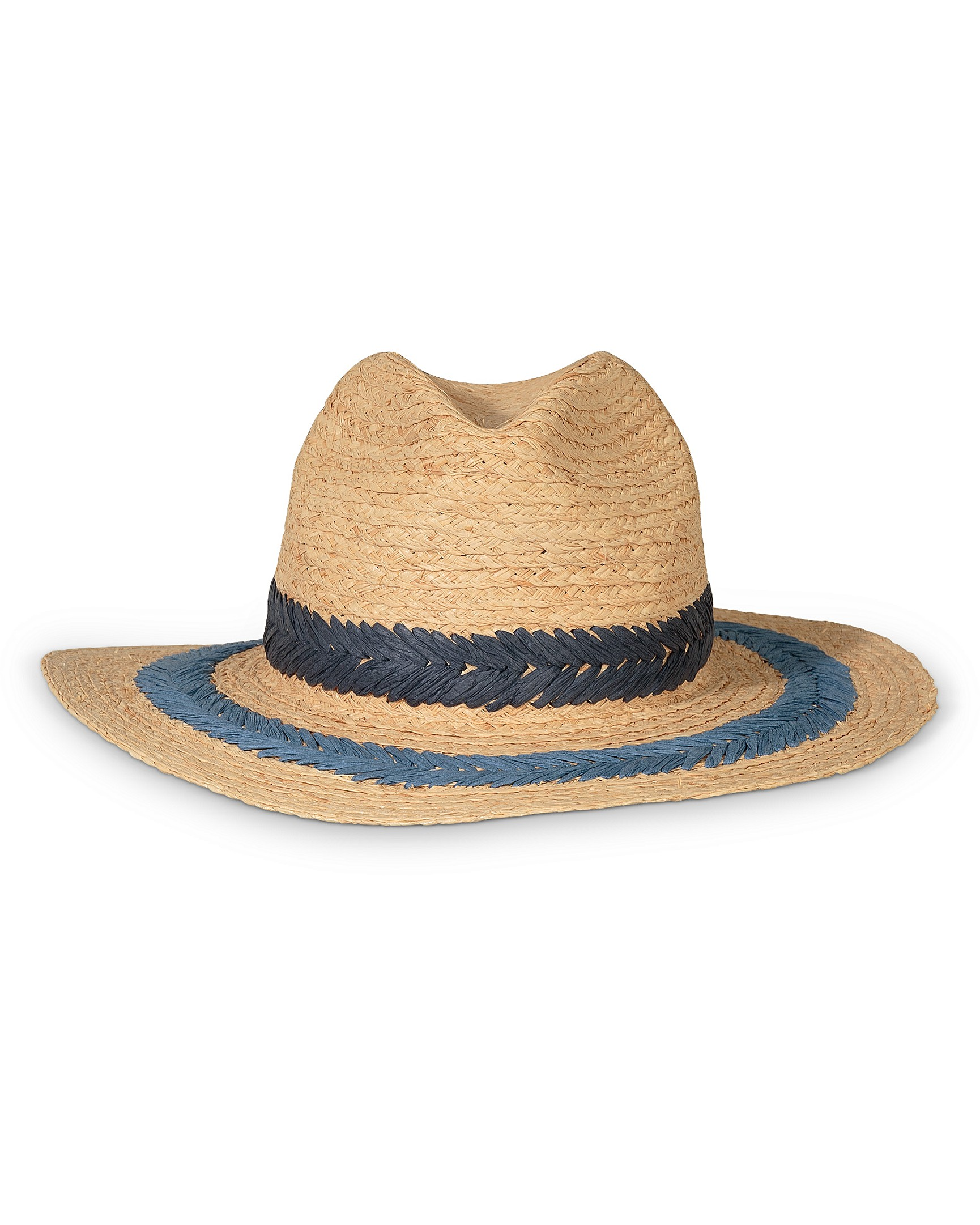 418f6a2c96d Denim Stripe Raffia Fedora Hat