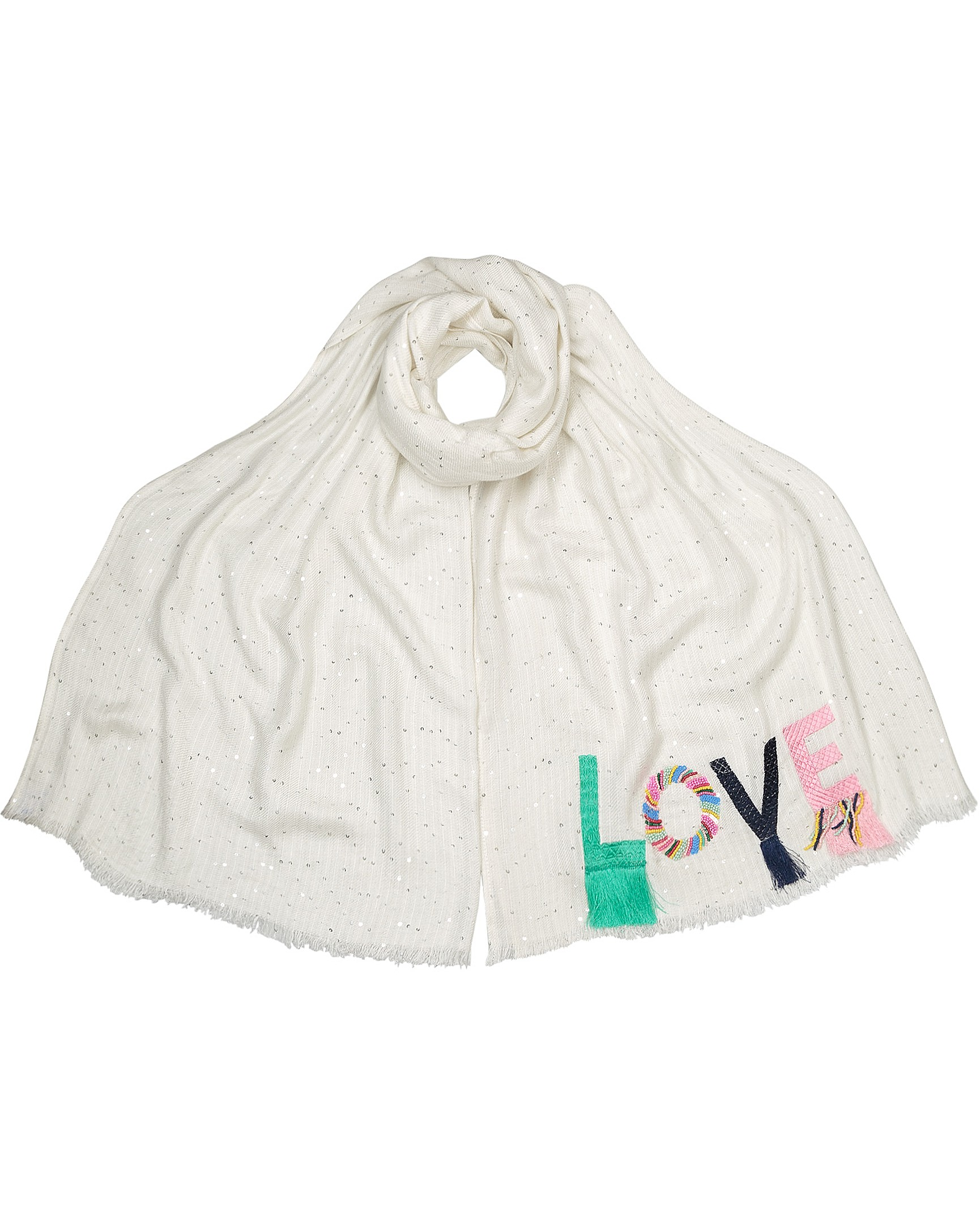 6f09ac24504 Love Letters Applique White Scarf