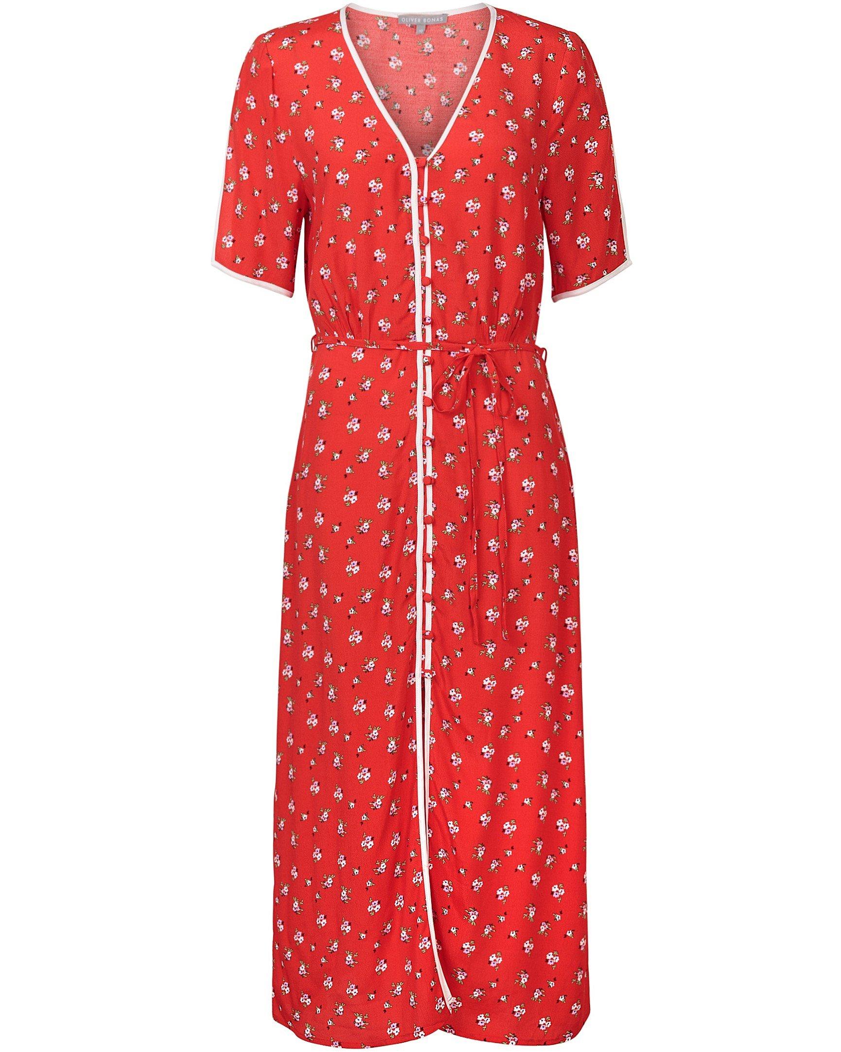 bd7827adaa9 Ditsy Print Red Midi Dress