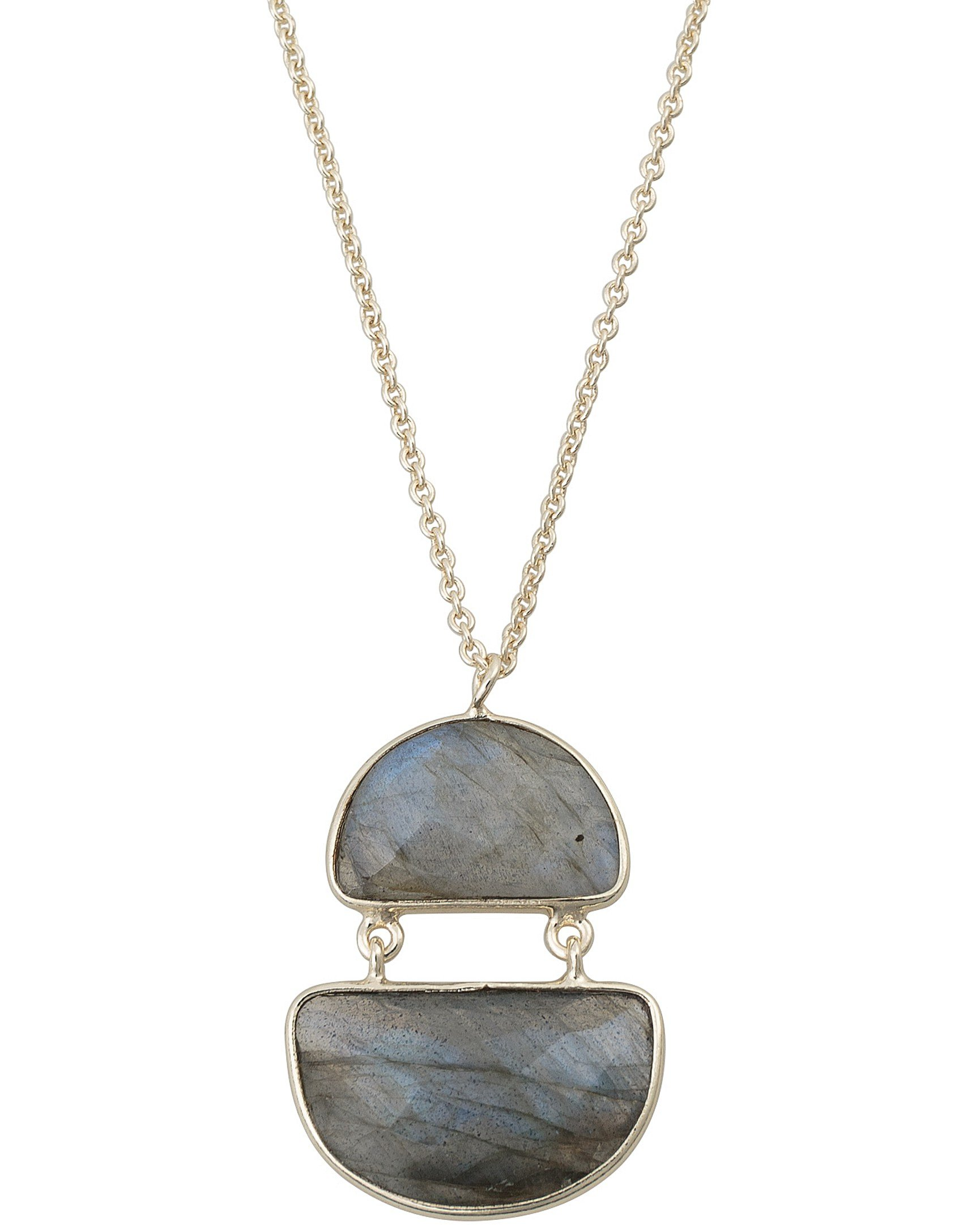 Semi Circle Labradorite Gold Plated Pendant Necklace