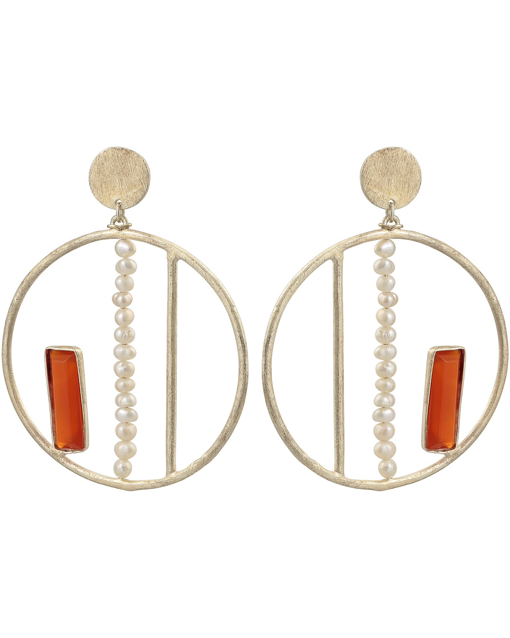 Pearl Carnelian Round Gold Plated Drop Earrings