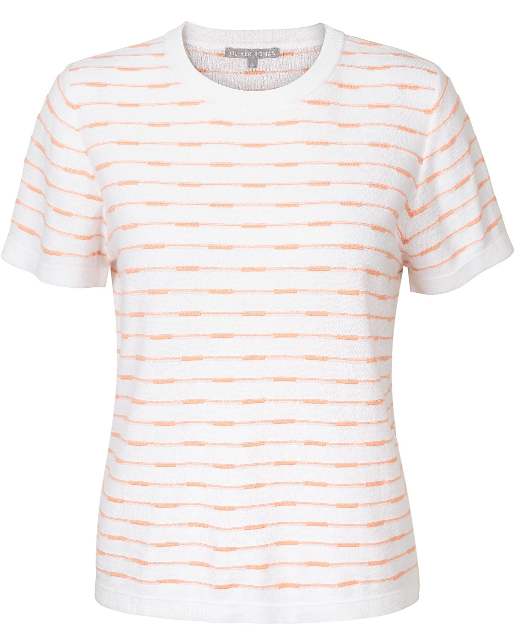 4be0288f2c599d Broken Stripe White & Peach Knitted T-Shirt