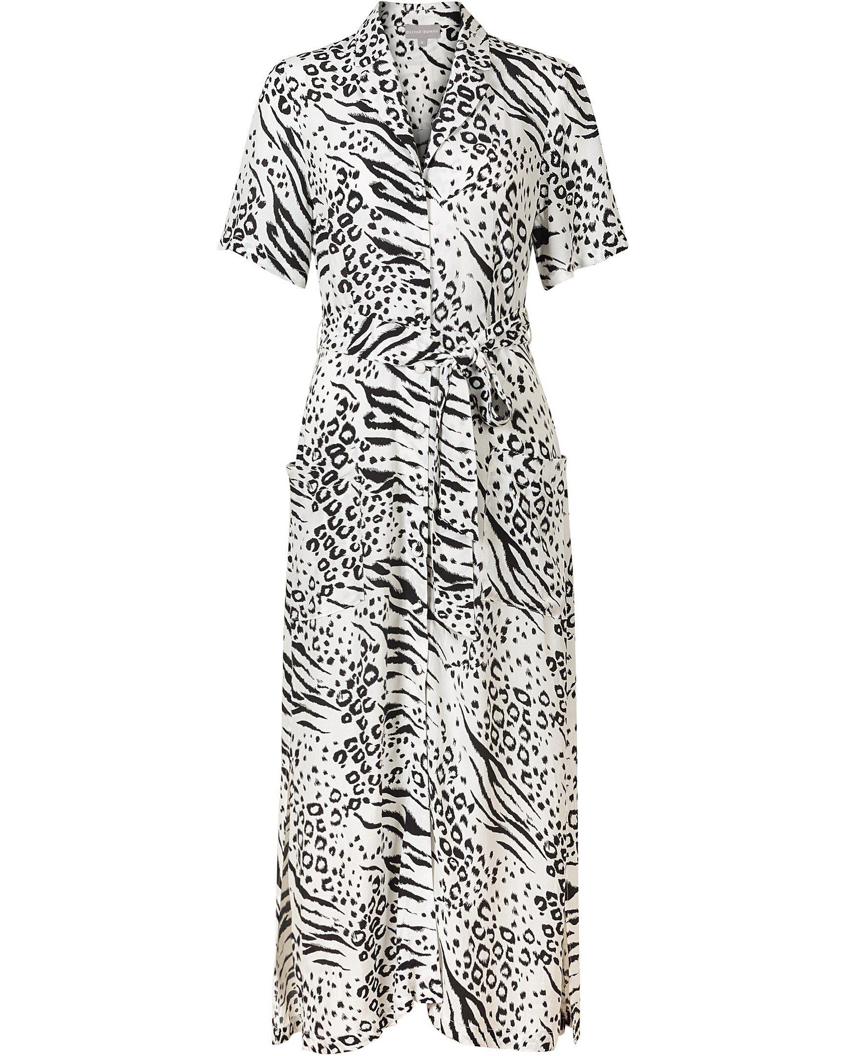 105701cf4aed Zebra Print White Maxi Shirt Dress | Oliver Bonas
