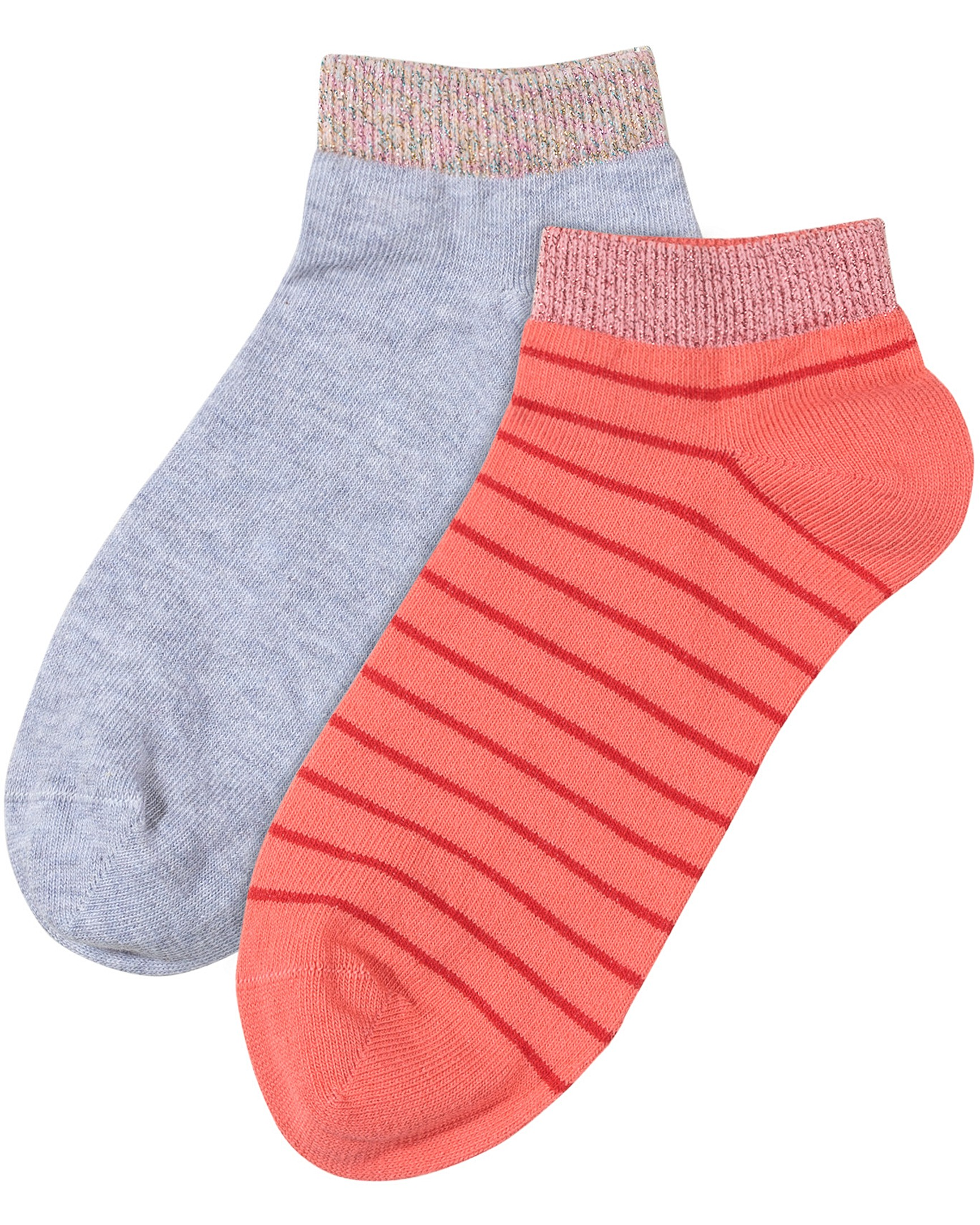 3cc28eb91c763 Striped Pink & Grey Trainer Socks Pack of Two
