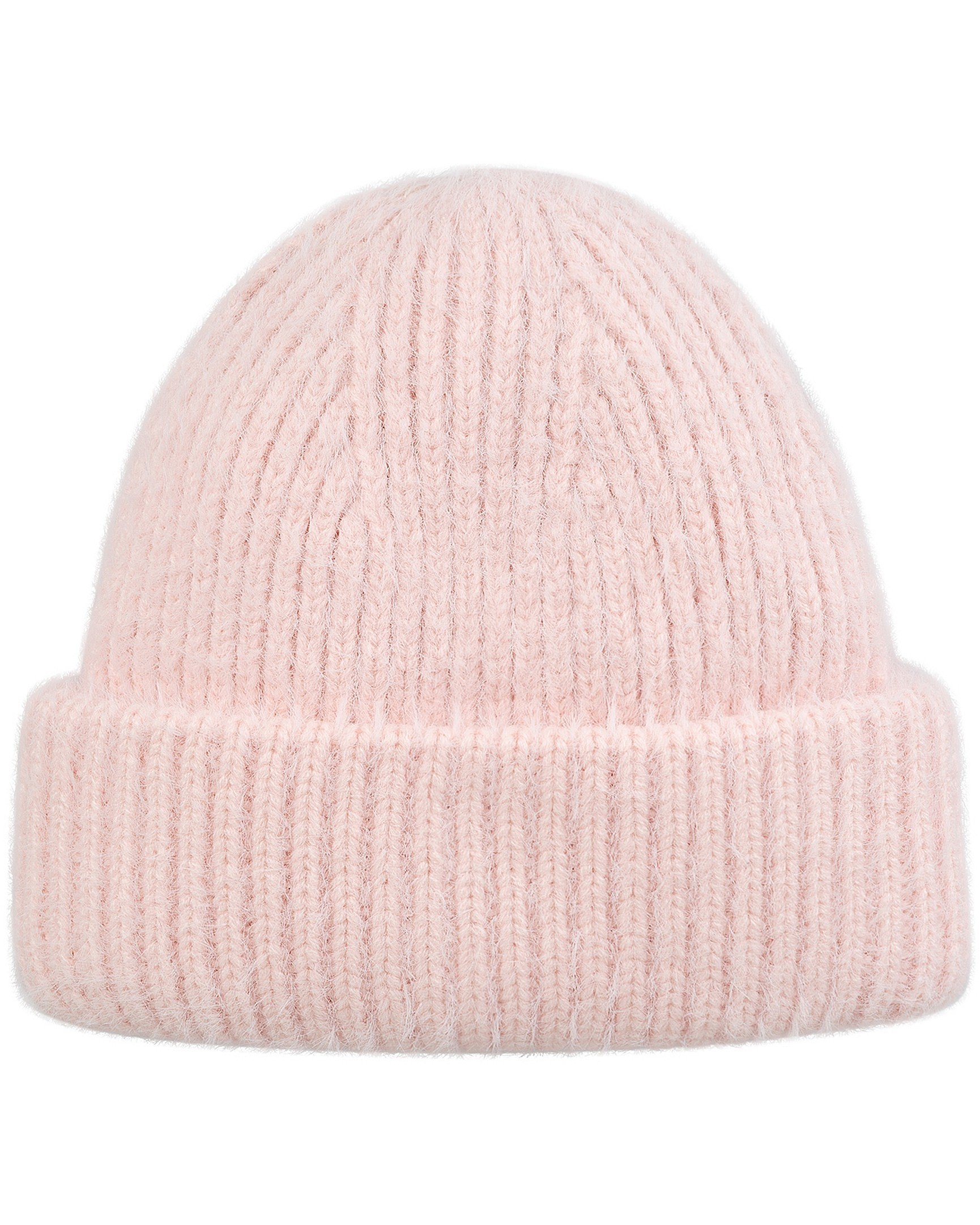 Fluffy Ribbed Knit Pink Beanie Hat d3813ee314f