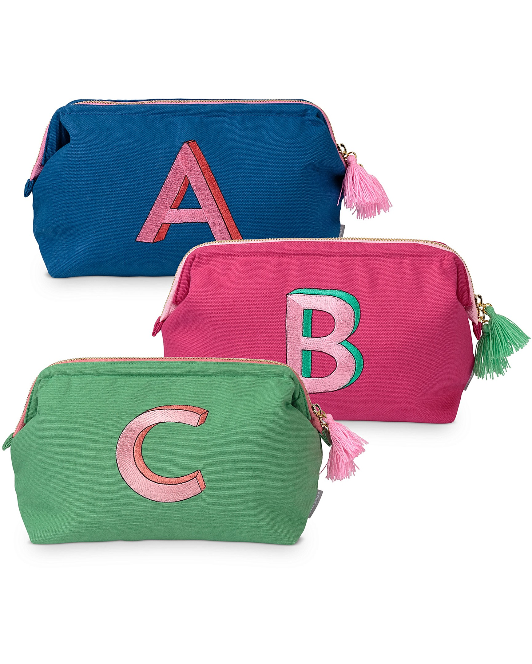 0b2e94d202 Alphabet Embroidered Wash Bag