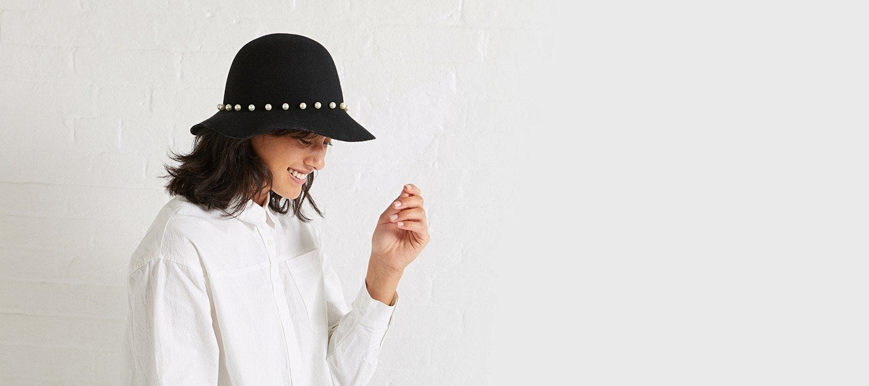 Pearl Band Black Felt Hat  604b6ac13cce