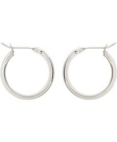 Elm Round Silver Hoop Earrings