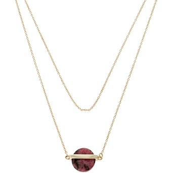 Necklaces pendants oliver bonas agera circular stone bar gold plated necklace mozeypictures Images