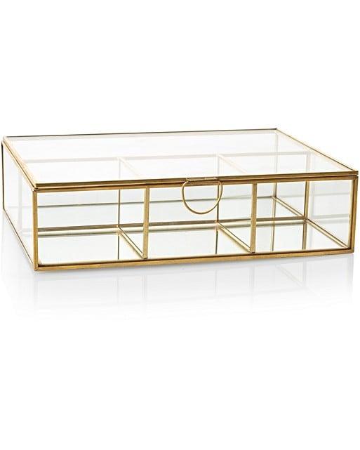 large gold glass mirrored jewelry box oliver bonas