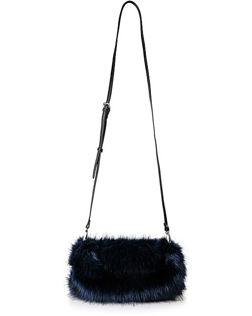 f2f3412e825d Home Promotions Navy Jeanie Faux Fur Cross Body Bag. Double tap to enlarge