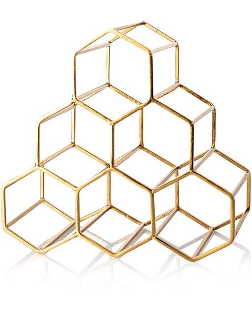Gold Hexagon Wine Rack | Oliver Bonas