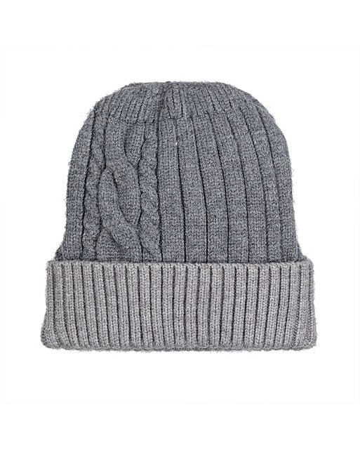 Two Tone Grey Cable Knit Beanie Hat  df89c4775150