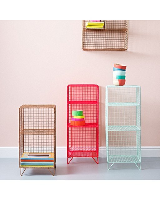 Grid Three Shelf Storage Unit Oliver Bonas